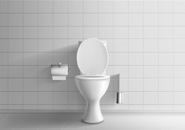 Modern toilet room interior 3d realistic vector mockup with tiled walls and floor