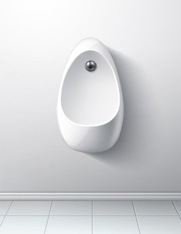 Интерьер современной туалетной комнаты с писсуаром и кнопкой смыва