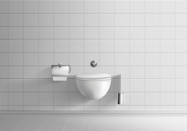 Modern toilet room minimalistic interior realistic vector mockup with white tiled walls and floor