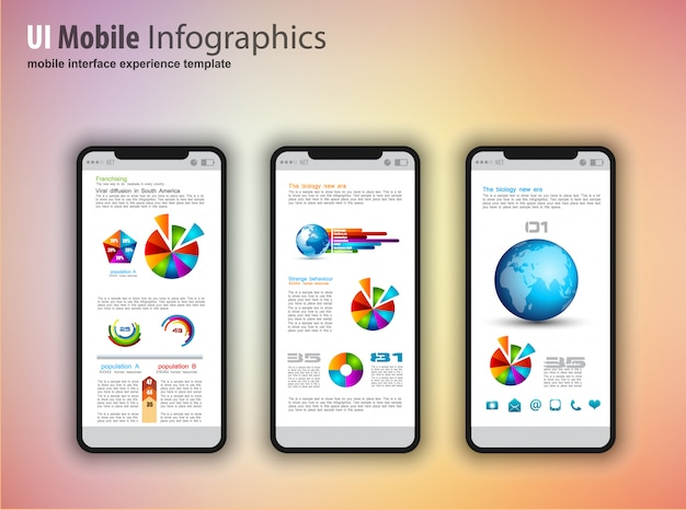Modern touchscreen phones with technology infographics design elements