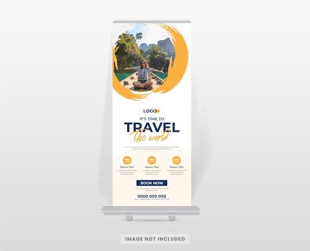 Modern tour and travel roll up banner design template