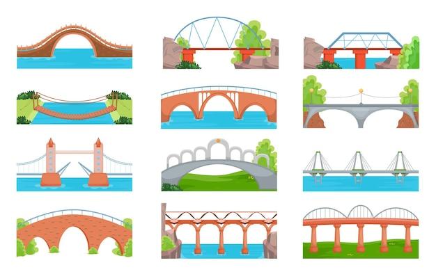 Modern and traditional bridges set