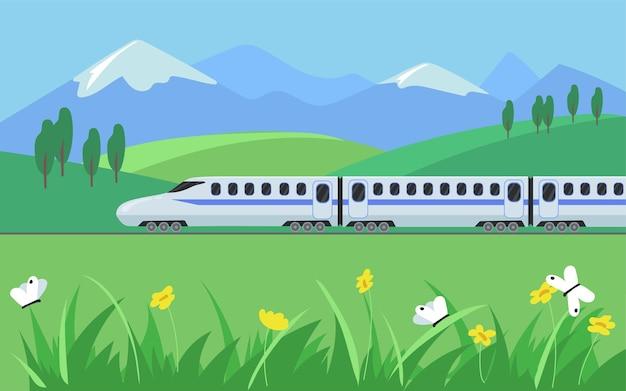近代的な列車と周りの美しい自然の風景。漫画イラスト