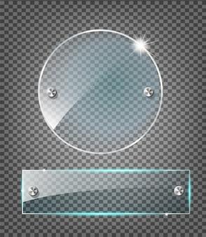 モダンな透明なガラス板はサンプルの背景に設定します。