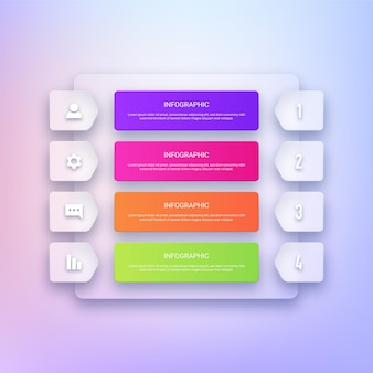 Современный прозрачный инфографический шаблон дизайна