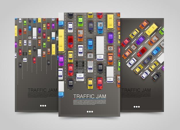 Современные транспортные вертикальные баннеры. набор дорожных флаеров. инфографика пробок. векторная иллюстрация