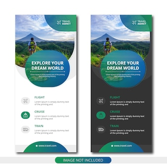 Modern travel agency roll up banner templates