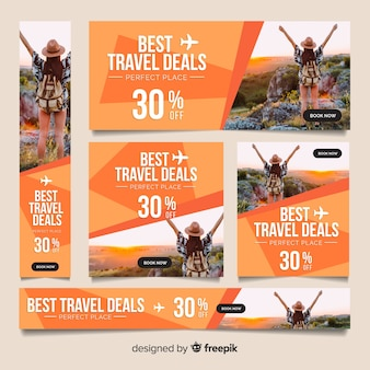 Modern travel banners with photo