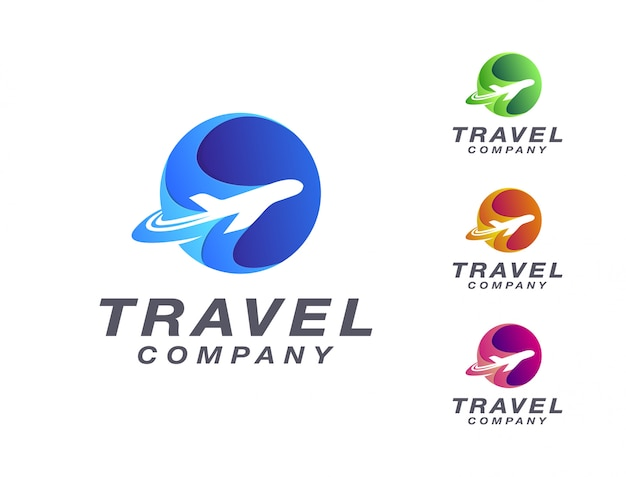 Modern travel by plane logo