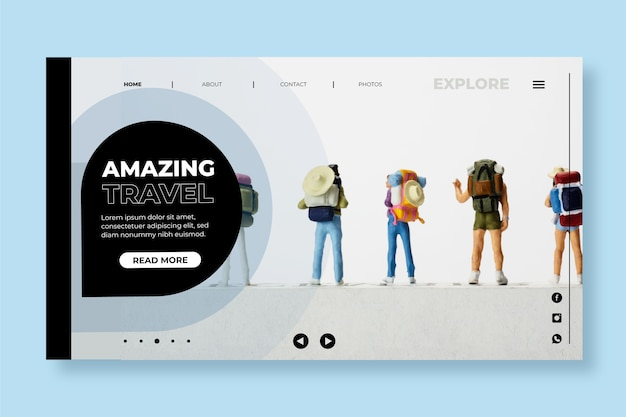 Modern travel landing page with photo