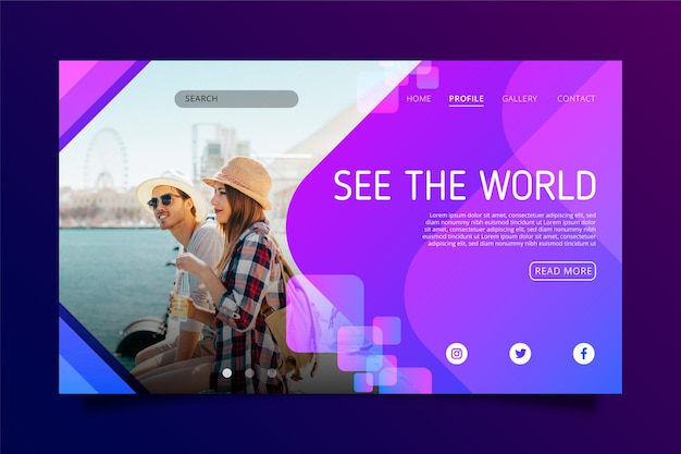 Modern travel landing page