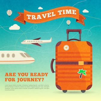 Modern travel luggage poster