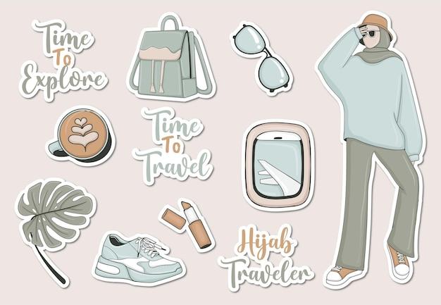 Набор современных туристических наклеек с мусульманской девушкой и некоторыми элементами