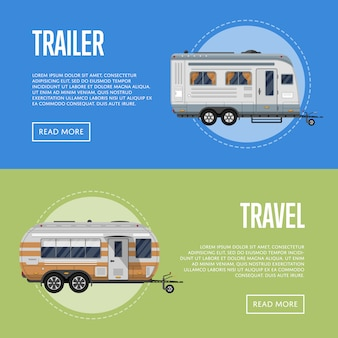 Modern travel trailer flyers set