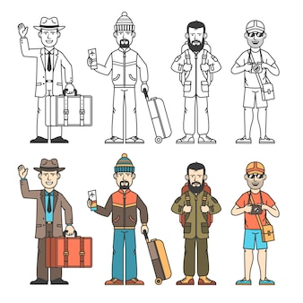 Modern travelers in various clothes with different baggage