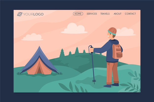 Modern travelling landing page with illustration