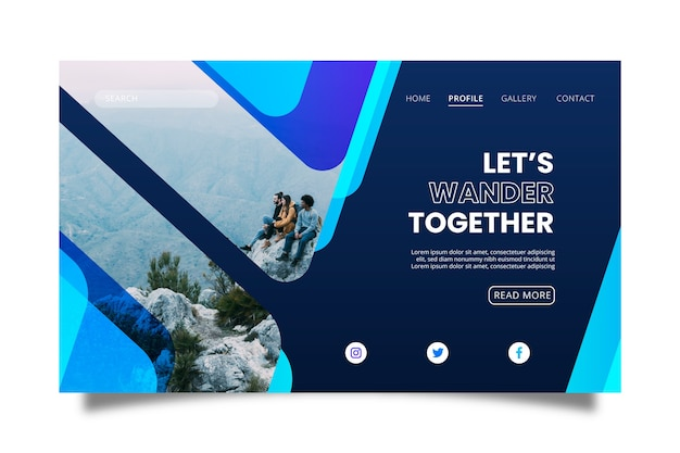 Modern travelling landing page with photo
