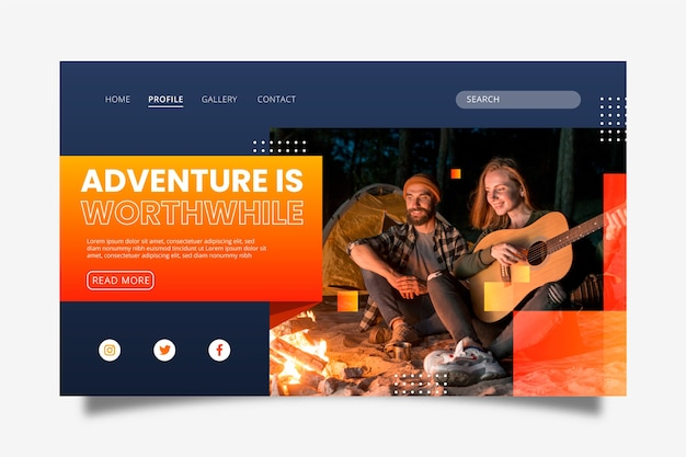Modern travelling landing page with picture