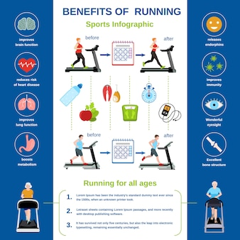 Modern treadmill infographic. flat illustration of modern treadmill vector infographic