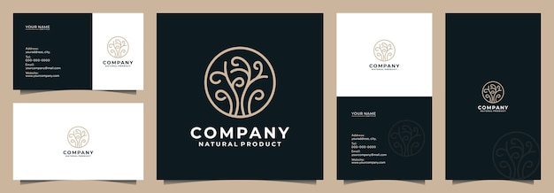 Modern tree logo with business card and name card