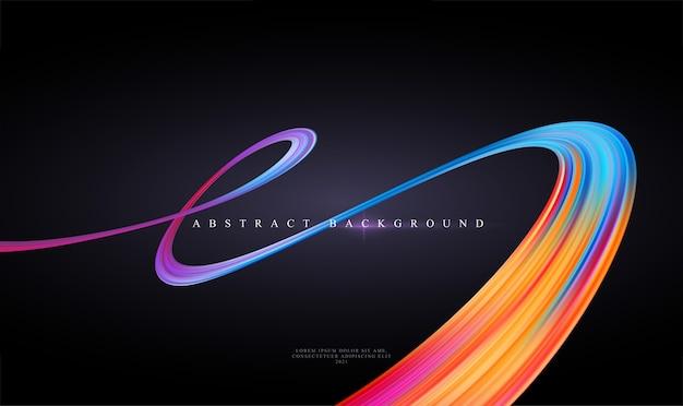 Современный трендовый абстрактный черный фон с изогнутой яркой полноцветной лентой жидкой краски Premium векторы