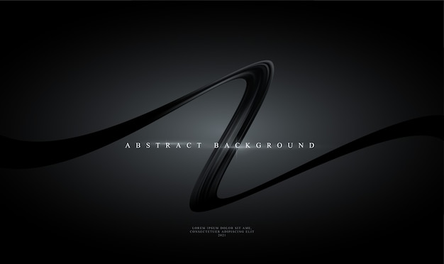 Modern trending black abstract background with shiny black curving ribbon.
