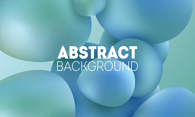 Modern trendy abstract background with dynamic 3d shapes. blue gradient soft bubbles