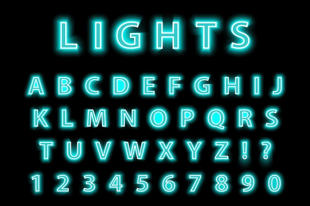 Modern trendy blue neon alphabet on a black background. led glowing letters font. luminescent number.  illustration.