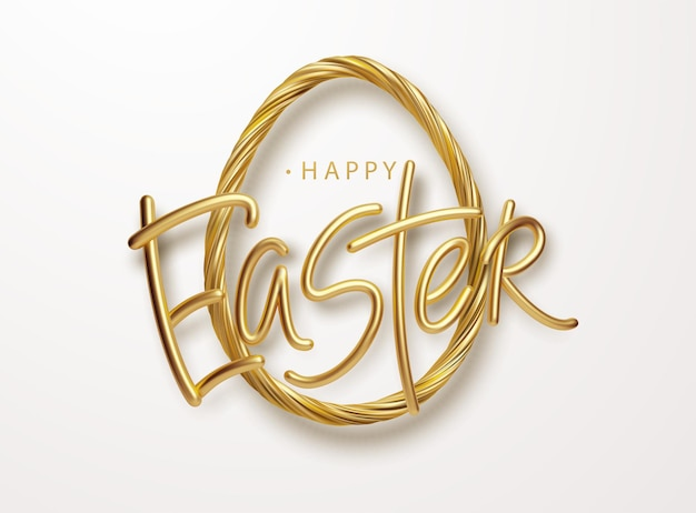 Modern trendy golden metallic shiny typography happy easter on a background of easter eggs