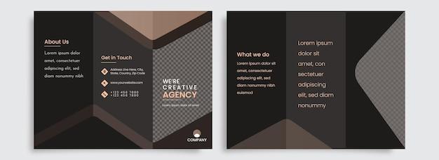 Modern tri-fold brochure template design for creative agency.
