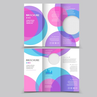 Modern tri-fold brochure template design with circular elements