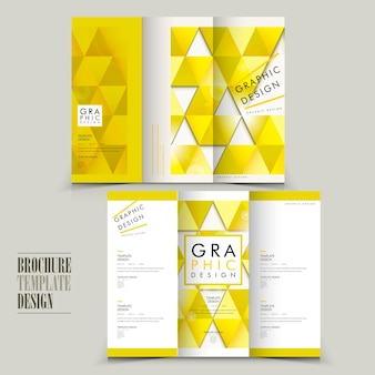 Modern tri-fold brochure template design with triangle elements