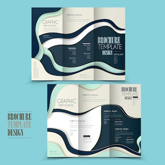 Modern tri-fold brochure template design with wave elements