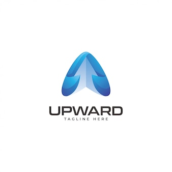 Modern triangle arrow upward logo