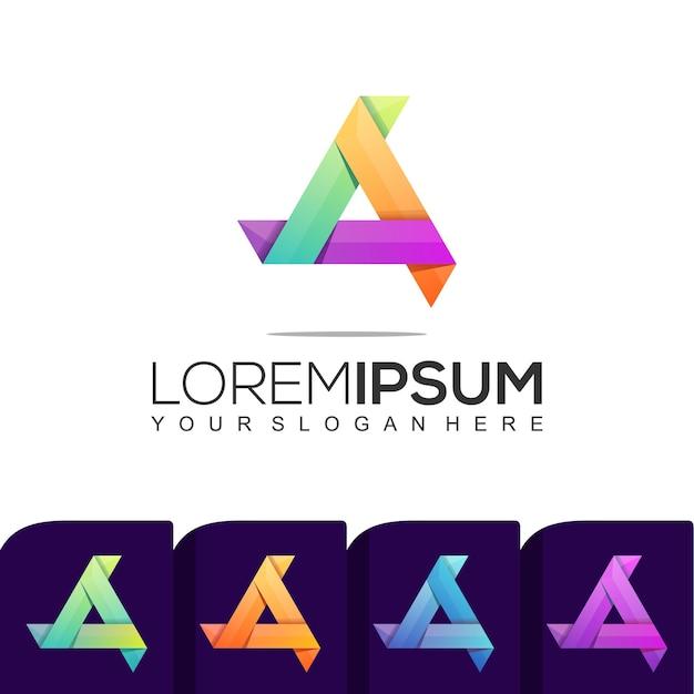 Набор шаблонов красочных логотипов modern triangle