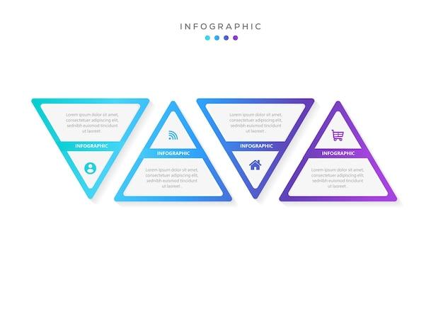 現代の三角形のインフォグラフィックデザインビジネステンプレートとオプションワークフロー4ステップ