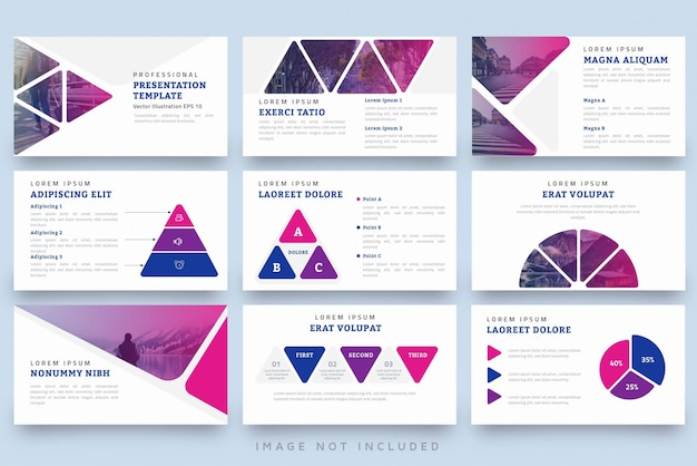 Modern triangle shape professional presentation template set
