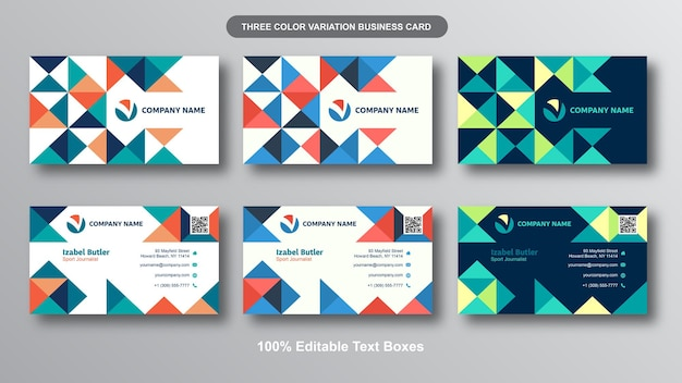 Modern triangles  modern business card set