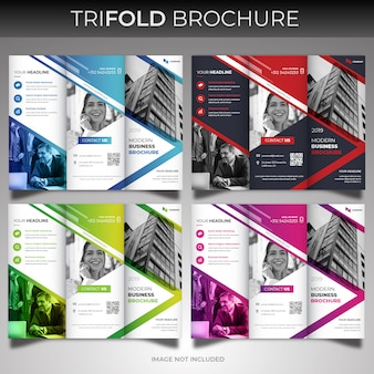 Modern trifold brochure cover design template set