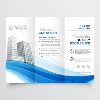 Modern trifold brochure layout template with blue wave