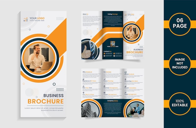 Modern trifold business brochure with yellow and green color abstract shapes and informations.