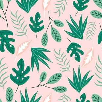 녹색과 분홍색 잎을 가진 현대 열 대 완벽 한 패턴입니다.