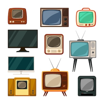 Modern and tube retro televisions set