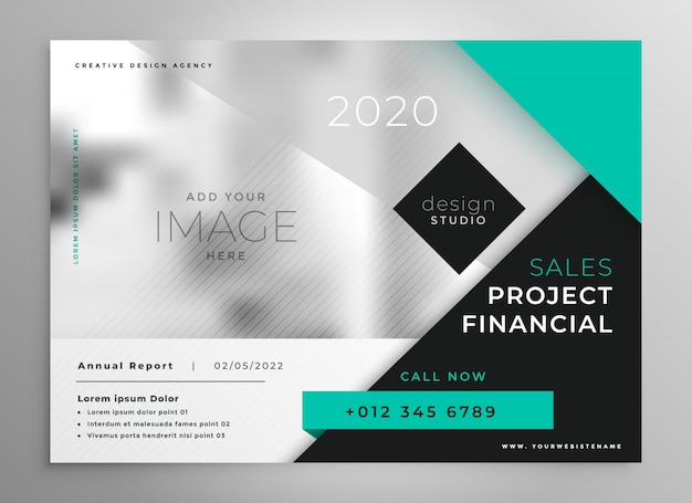 Modern turquoise geometric business brochure template