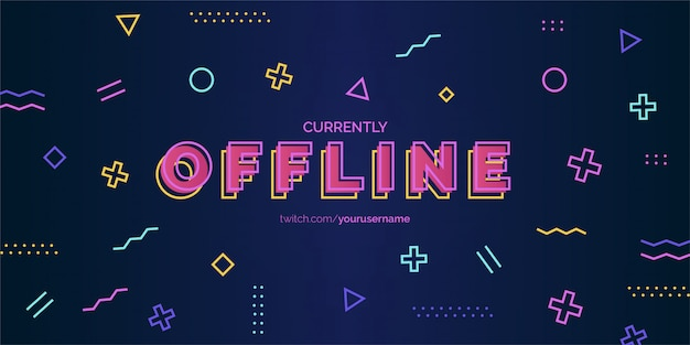 Modern twitch background design with memphis elements vector template