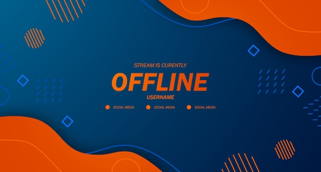 Modern twitch background screensaver offline stream gaming orange fluid background with memphis style