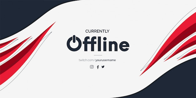 Modern twitch offline banner with abstract red shapes