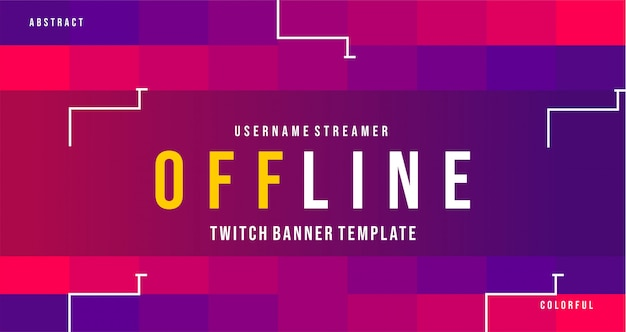 Современный дерганный оффлайн баннер с красочным стилем