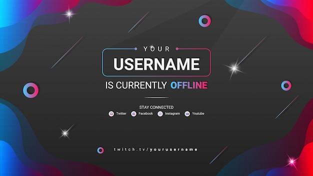 Modern twitch offline banner with gradient shape