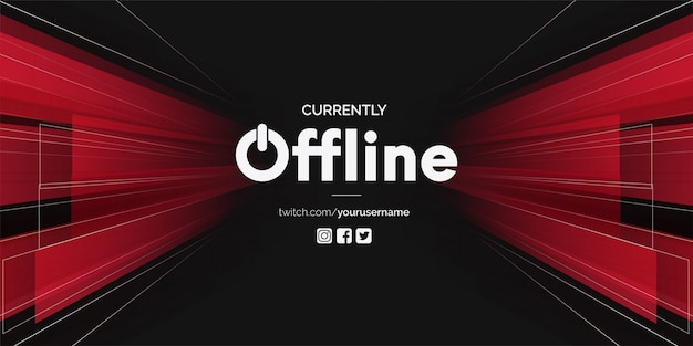 Modern twitch offline with 3d shapes